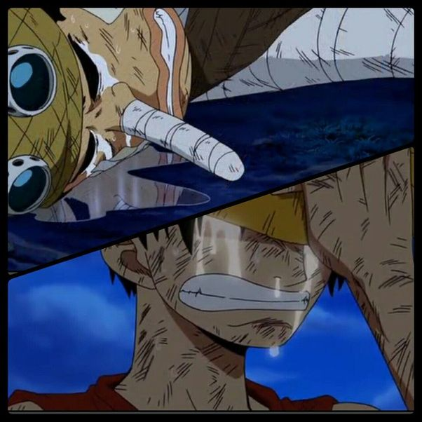 luffy and usopp crying after their fight.